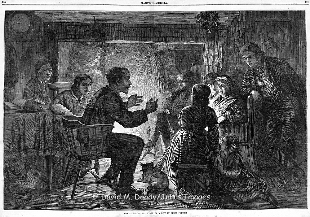 """A Union soldier, liberated POW back home. """"Home again"""", the story of life in a rebel prison being told front of the family fireplace Harper's Weekly, Sat. Feb 25, 1865."""