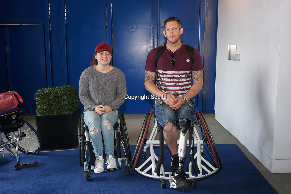 London,England,UK. 14th May 2017. Basketball player Simon Gibbs , Helen freeman at the BBL Play-Off Finals also fundraising for Hoops Aid 2017 but also a major fundraising opportunity for the Sports Traider Charity at London's O2 Arena, UK. by See Li