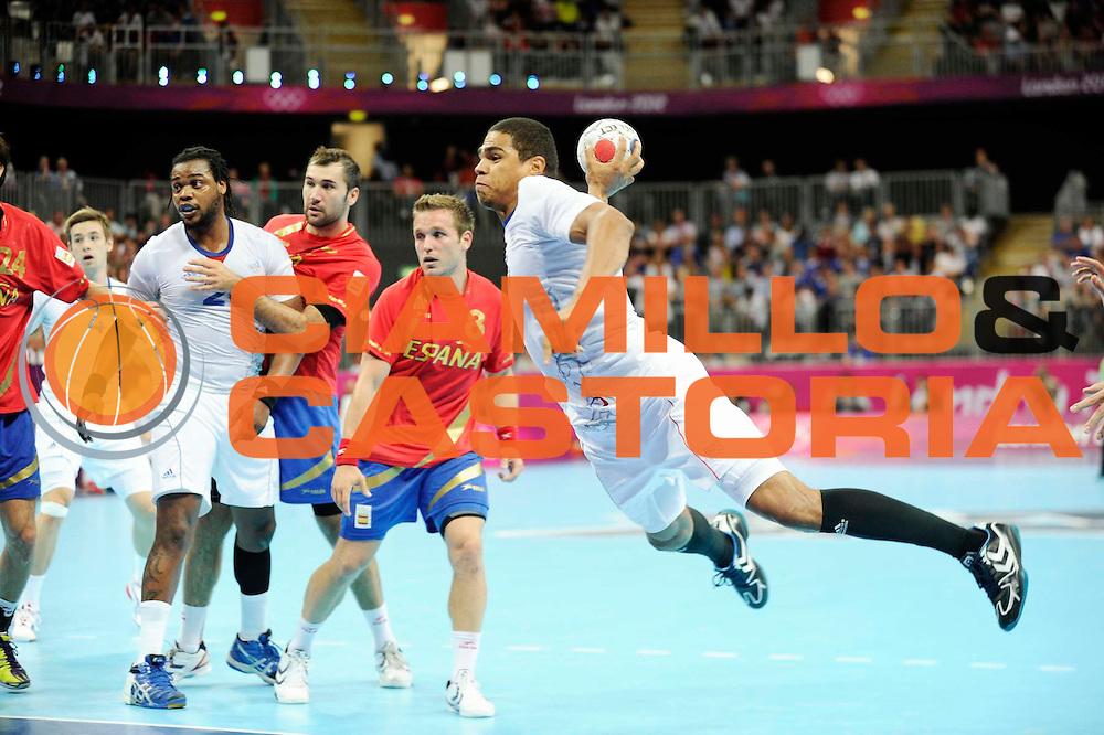 DESCRIZIONE : Handball Jeux Olympiques Londres Quart de Finale<br /> GIOCATORE : Narcisse Daniel FRA<br /> SQUADRA : France Homme<br /> EVENTO : FRANCE Handball Jeux Olympiques<br /> GARA : France Espagne<br /> DATA : 08 08 2012<br /> CATEGORIA : handball Jeux Olympiques<br /> SPORT : HANDBALL<br /> AUTORE : JF Molliere <br /> Galleria : France JEUX OLYMPIQUES 2012 Action<br /> Fotonotizia : France Handball Homme Jeux Olympiques Londres Quart de Finale Basketball Arena<br /> Predefinita :