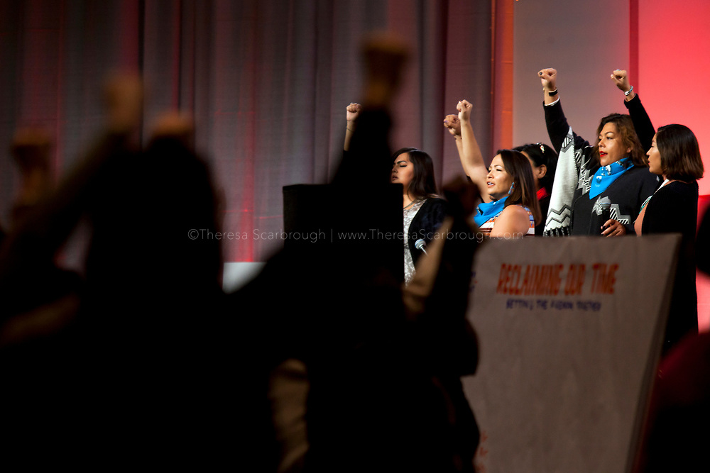 Members of the Navajo Nation speak at the opening session of the Women's Convention at the Cobo Center, Detroit Michigan, Friday, October 27, 2017