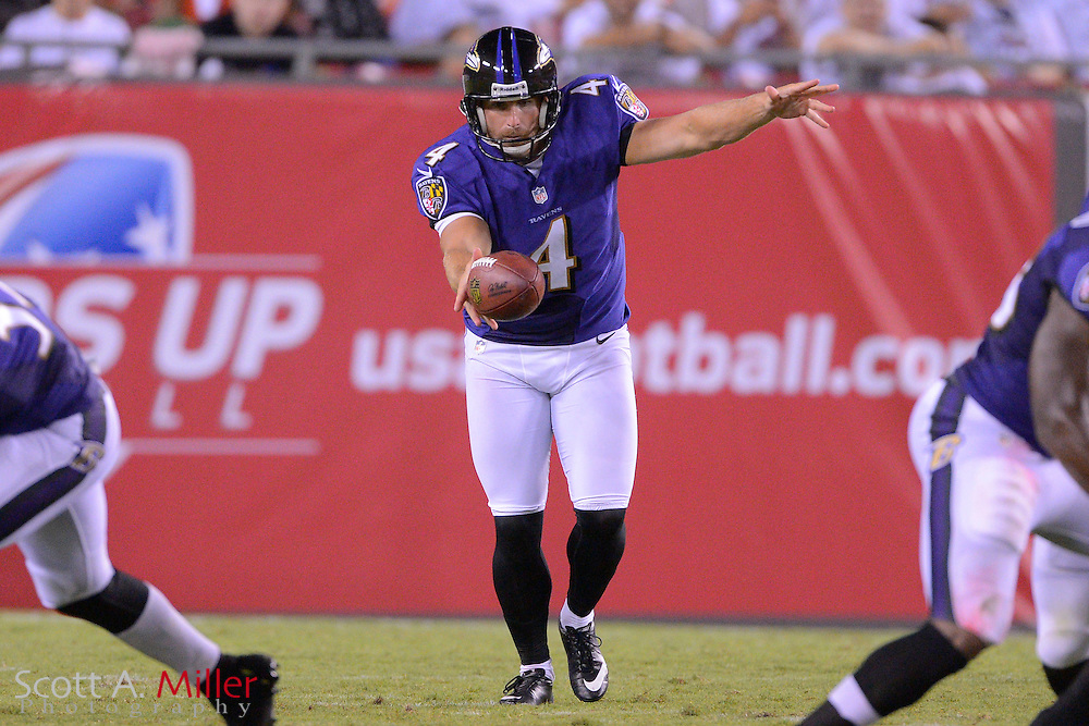 Baltimore Ravens punter Sam Koch (4) during a preseason NFL game at Raymond James Stadium on Aug. 8, 2013 in Tampa, Florida. <br /> <br /> &copy;2013 Scott A. Miller