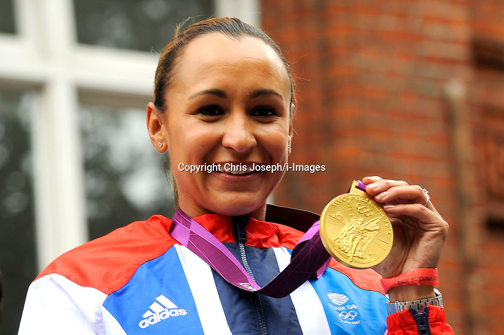 Jessica Ennis with other Team GB Athletes and Medal Winners parade through the streets on The 2012 Olympic Celebration Parade, London, Monday September 10, 2012. Photo By Chris Joseph / i-Images<br /> File photo - Jessica Ennis Pregnant<br /> <br /> Team GB gold medallist Jessica Ennis announces this morning Friday 10th January 2014 via her Facebook fan page that she is pregnant. Photo filed Friday, 10th January 2014