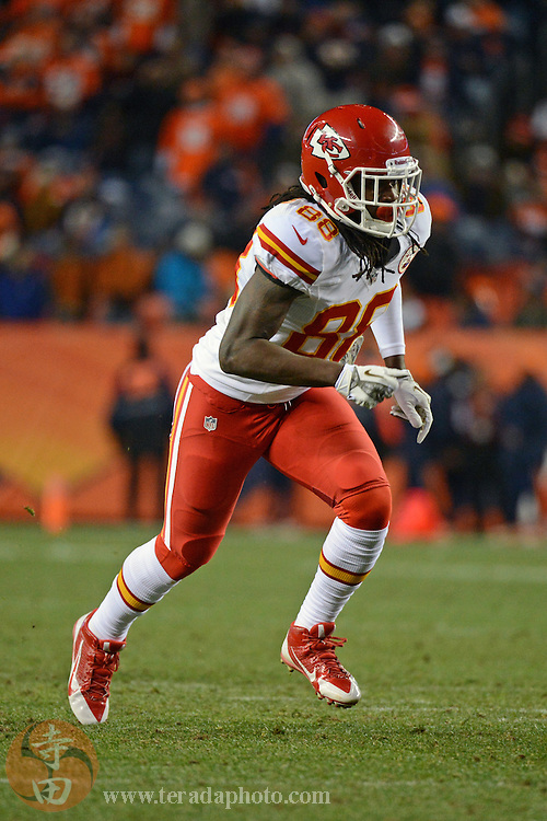 November 17, 2013; Denver, CO, USA; Kansas City Chiefs wide receiver Junior Hemingway (88) runs during the third quarter against the Denver Broncos at Sports Authority Field at Mile High. The Broncos defeated the Chiefs 27-17.
