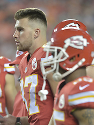 Aug 21, 2015; Kansas City, MO, USA; Kansas City Chiefs tight end Travis Kelce (87) watches play on the sidelines during the second half against the Seattle Seahawks at Arrowhead Stadium. The Chiefs won 14-13. Mandatory Credit: Denny Medley-USA TODAY Sports