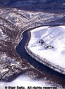 Southwest PA Aerial, Bedford Co., Farms and Snow along River Aerial Photograph Pennsylvania