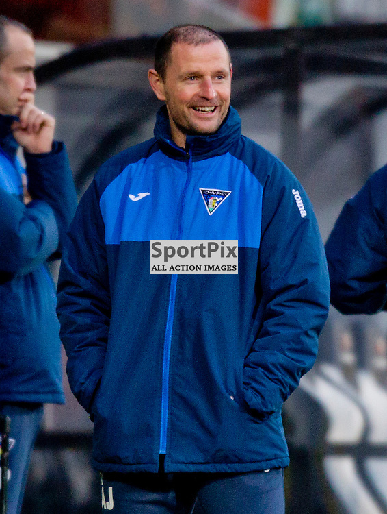 Dunfermline Athletic v Cowdenbeath SPFL League One Season 2015/16 East End Park 02 January 2016<br />  <br /> All smiles from Allan Johnston<br /> <br /> Dunfermline Athletic take on Cowdenbeath in League one, but also comemorate 20 years since the passing of DAFC player Norrie McCathie. Dunfermline and Cowdenbeath were the only two teams McCathie signed for and Dunfermline wear a replica of the strip Norrie last wore against St Mirren at Love Street in 1995. Cowdenbeath also wear a one off strip to comemorate the towns coal mining history. <br /> <br /> CRAIG BROWN | sportPix.org.uk