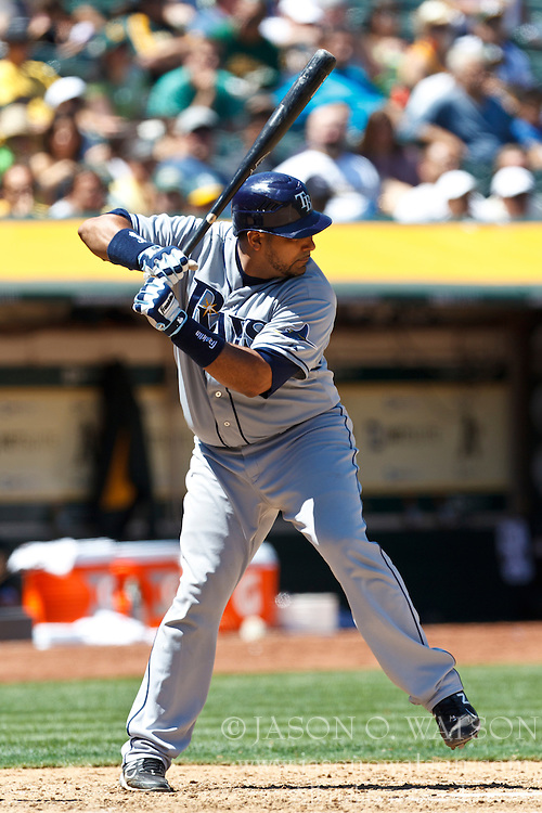 OAKLAND, CA - AUGUST 01: Jose Molina #28 of the Tampa Bay Rays at bat against the Oakland Athletics during the sixth inning at O.co Coliseum on August 1, 2012 in Oakland, California. The Tampa Bay Rays defeated the Oakland Athletics 4-1. (Photo by Jason O. Watson/Getty Images) *** Local Caption *** Jose Molina