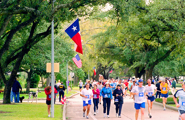Stock photo of the Houston marathon participants in a street lined with oak trees