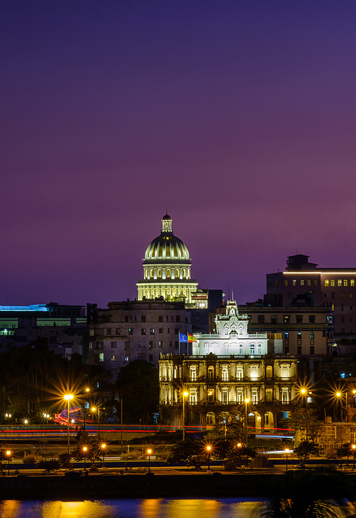 HAVANA, CUBA - CIRCA JANUARY 2020: La Havana skyline at night.
