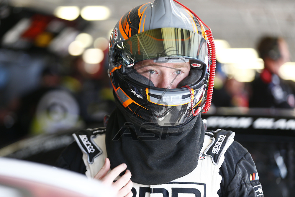 October 20, 2017 - Kansas City, Kansas, USA: Tyler Reddick (42) hangs out in the garage during practice for the Kansas Lottery 300 at Kansas Speedway in Kansas City, Kansas.