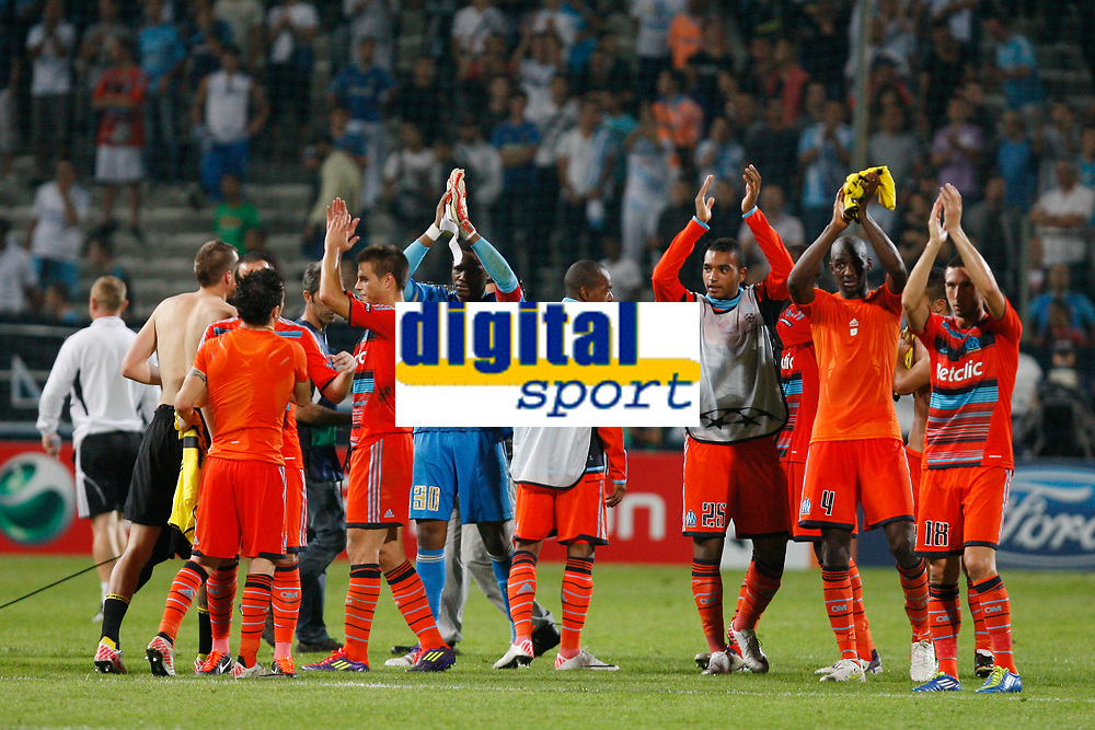 FOOTBALL - UEFA CHAMPIONS LEAGUE 2011/2012 - GROUP STAGE - GROUP F - OLYMPIQUE DE MARSEILLE v BORUSSIA DORTMUND - 28/09/2011 - PHOTO PHILIPPE LAURENSON / DPPI - JOY MARSEILLE PLAYERS AT THE END OF THE MATCH