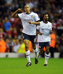 Curtis Davies celebrates scoring the second goal during the Barclays Premier League match between Liverpool and Aston Villa at Anfield on August 24, 2009 in Liverpool, England.