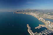 Marina of Calpe and Benidorm from the top of  Peñon de Ifach. Calpe,Alicante,Spain,Europe,