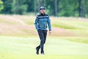 Lee Slattery (ENG) is all smiles on the 11th fairway, as he leads during the second round of the Aberdeen Standard Investments Scottish Open at The Renaissance Club, North Berwick, Scotland on 12 July 2019.