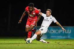 Stanley Amuzie od Aluminij and Endri Cekici of Olimpija during football match between NK Aluminij and NK Olimpija in 6st Round of Prva liga Telekom Slovenije 2019/20, on August 18, 2019 in Sportni park NK Aluminij, Kidricevo, Slovenia. Photo by Milos Vujinovic / Sportida