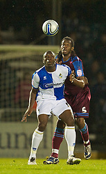 BRISTOL, ENGLAND - Tuesday, September 28, 2010: Tranmere Rovers' Ian Goodison and Bristol Rovers' Danny Coles during the Football League One match at the Memorial Ground. (Photo by David Rawcliffe/Propaganda)