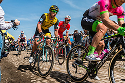 Dylan GROENEWEGEN from the Netherlands of Team LottoNL-Jumbo at the 4 star cobblestone sector 26 from Fontaine-au-Tertre to Quievy during the 2018 Paris-Roubaix race, France, 8 April 2018, Photo by Pim Nijland / PelotonPhotos.com | All photos usage must carry mandatory copyright credit (Peloton Photos | Pim Nijland)