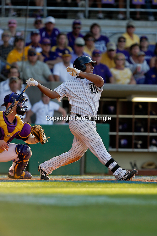 06 June 2009: Diego Seastrunk (5) of Rice in action during a 5-3 victory by the LSU Tigers over the Rice Owls in game two of the NCAA baseball College World Series, Super Regional played at Alex Box Stadium in Baton Rouge, Louisiana. The Tigers with the win advance to next week's College Baseball World Series in Omaha, Nebraska.