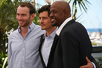 Actors Conrad Kemp, Orlando Bloom and Forest Whitaker at the Zulu film photocall Cannes Film Festival Sunday 27th May 2013