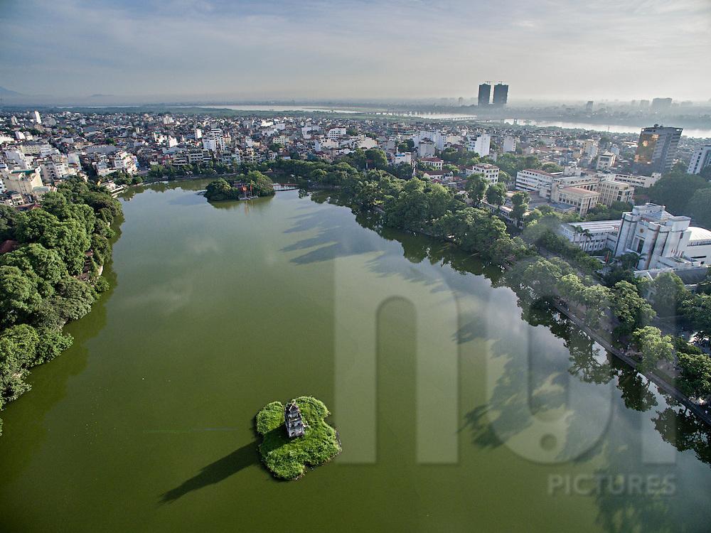 Aerial view of Hoan Kiem Lake in Hanoi, Vietnam, Southeast Asia
