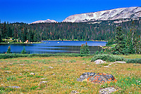 Brooklyn Lake below Browns Peak of the Snowy Range.  Medicine Bow Mountains, Wyoming, USA.