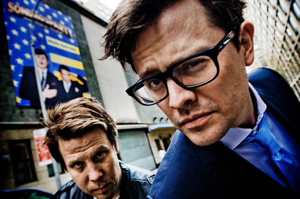 """Filip och Fredrik i New York..Filip Hammar och Fredrik Wikingsson spelar in ny TV-show """"Söndagsparty"""" i en studio i Chelsea, New York."""