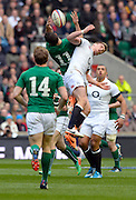 Twickenham Great Britain.  Ireland's, Dave KEARNEY collects the high ball, Owen FARRELL challenges, during the  2014 RBS Six Nations Rugby; England vs Ireland. Saturday  22/02/2014  [Mandatory Credit; Peter Spurrier/Intersport-images]