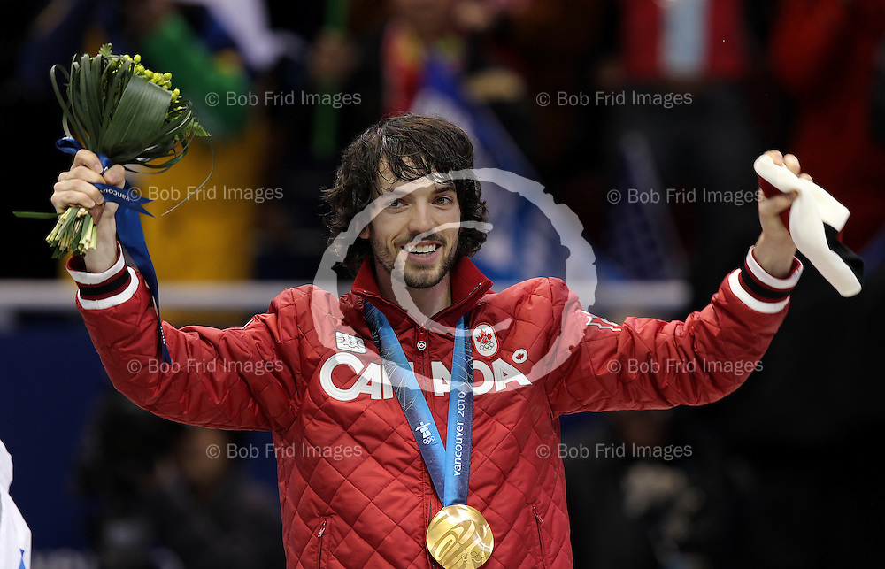 26 February 2010: gold medalist Charles HAMELIN #205 from Canada at the end of the the Men's 500m short track speed skating final held at the Pacific Coliseum during the Vancouver 2010 Winter Olympics  in Vancouver,  British Columbia, Canada..