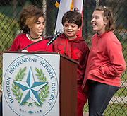 Students deliver a closing poem during a groundbreaking ceremony at Garden Oaks Montessori, February 17, 2017.