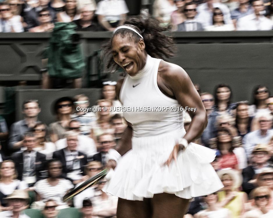 SERENA WILLIAMS (USA) jubelt,Emotion, Bewegungsunschaerfe, Damen Endspiel, Finale <br /> <br /> Tennis - Wimbledon 2016 - Grand Slam ITF / ATP / WTA -  AELTC - London -  - Great Britain  - 9 July 2016.