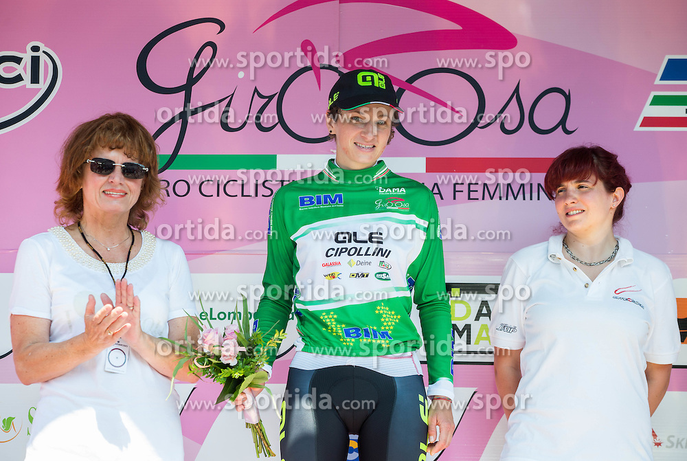 Helena Petrin of BTC City and Jasinska Malgorzta (POL) of Ale Cipollini team in Green jersey during jersey ceremony after Stage 1 (102,5 km) from Kamnik to Ljubljana at 26th Giro Rosa 2015 Women cycling race, on July 4, 2015 in BTC City, Ljubljana,  Slovenia. Photo by Vid Ponikvar / Sportida