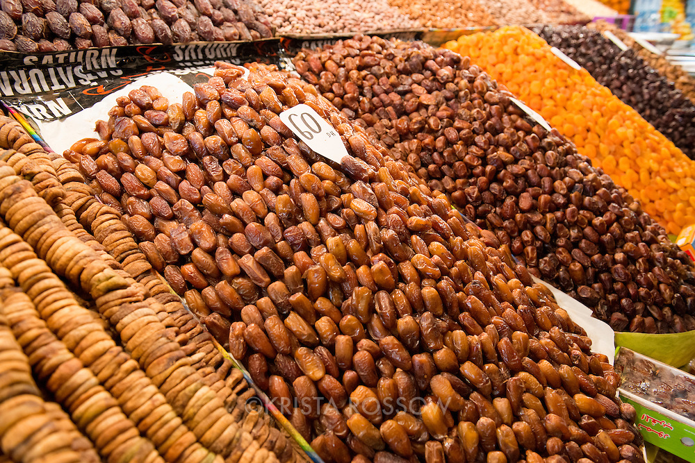 A dried fruit and nut stall at the Jemaa el-Fnaa, a large marketplace square in the Medina of Marrakesh, Morocco.
