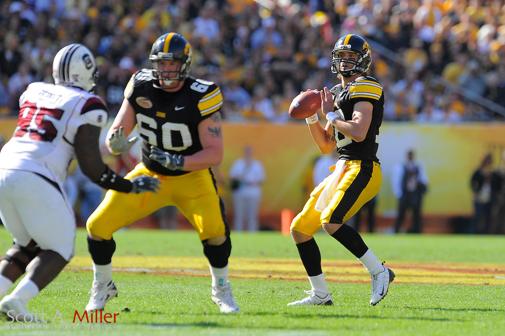 Jan 1, 2009; Tampa, FL, USA; Iowa Hawkeyes quarterback Richard Stanzi (12) looks upfield during the first half of the Outback Bowl against the South Carolina Gamecocks at the Raymond James Stadium ©2009 Scott A. Miller