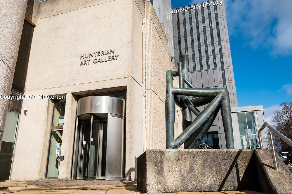 Exterior of Hunterian Art Gallery with Bronze sculpture Diagram of an Object by Dhruva Mistry at Glasgow University, Scotland, United Kingdom