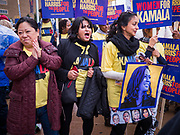 01 NOVEMBER 2019 - DES MOINES, IOWA: Supporters of Kamala Harris dance in the streets of Des Moines before the Liberty and Justice Celebration. The Liberty and Justice Celebration is a fund raiser for the Iowa Democratic Party. Many of the Democratic candidates for the US presidency spoke at the 2019 Celebration. Iowa holds the first presidential selection event of the 2020 election cycle. The Iowa Caucuses are Feb. 3, 2020.           PHOTO BY JACK KURTZ
