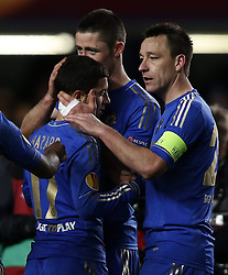 21.02.2013, Stamford Bridge, London, ENG, UEFA Europa League, FC Chelsea vs Sparta Prag, 1. Runde, im Bild Eden Hazard (L) of Chelsea celebrates his goal with teammates John Terry(R) and Gary Cahill during UEFA Europa League knockout round 1st leg match between Chelsea FC and Sparta Prag at the Stamford Bridge, London, Great Britain on 2013/02/21. EXPA Pictures © 2013, PhotoCredit: EXPA/ Propagandaphoto/ Wang Lili..***** ATTENTION - OUT OF ENG, GBR, UK *****
