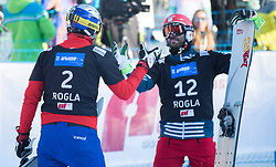Karl Benjamin and Dufour Sylvain during the FIS snowboarding world cup race in Rogla (SI / SLO) | GS on January 20, 2018, in Jasna Ski slope, Rogla, Slovenia. Photo by Urban Meglic / Sportida