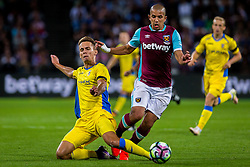 Jure Balkovec of NK Domzale and Sofiane Feghouli of West Ham during 2nd Leg football match between West Ham United FC and NK Domzale in 3rd Qualifying Round of UEFA Europa league 2016/17 Qualifications, on August 4, 2016 in London, England.  Photo by Ziga Zupan / Sportida