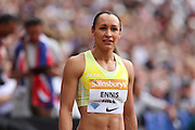 Jessica Ennis-Hill of Great Britain after the 200m during the Sainsbury's Anniversary Games at the Queen Elizabeth II Olympic Park, London, United Kingdom on 25 July 2015. Photo by Phil Duncan.
