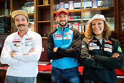 Filip Flisar, Jakov Fak and Ilka Stuhec during official presentation of the outfits of the Slovenian Ski Teams before new season 2015/16, on October 6, 2015 in Kulinarika Jezersek, Sora, Slovenia. Photo by Vid Ponikvar / Sportida