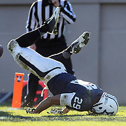 Wide receiver Grant Wallace, Yale, hits the turf after failing to pull in a pass from Quarterback Morgan Roberts in the end zone during the Yale Vs Princeton, Ivy League College Football match at Yale Bowl, New Haven, Connecticut, USA. 15th November 2014. Photo Tim Clayton
