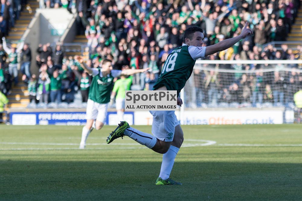 Hibernian's John McGinn celebrates after his early opening goal in the Raith Rovers vs Hibernian Scottish Championship 24th October 2015......(c) MARK INGRAM | SportPix.org.uk