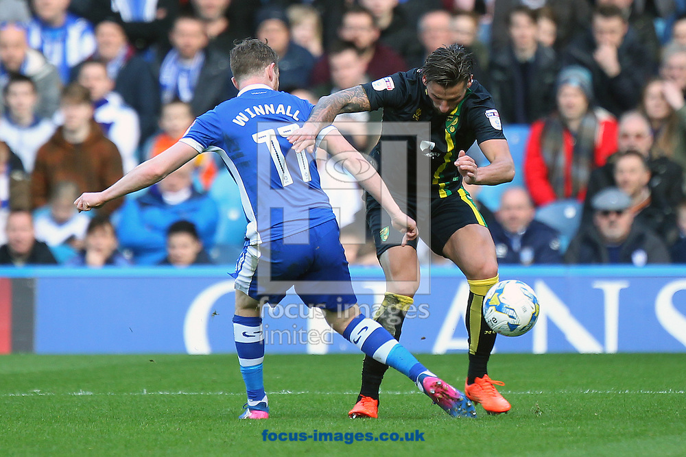 Sam Winnall of Sheffield Wednesday and Mitchell Dijks of Norwich in action during the Sky Bet Championship match at Hillsborough, Sheffield<br /> Picture by Paul Chesterton/Focus Images Ltd +44 7904 640267<br /> 04/03/2017