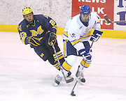 Michigan's Jeff Rohrkemper (left) tries to reach for the puck around LSSU defenseman Simon Gysbers (right) during the Wolverines Friday night game against the LSSU Lakers at Taffy Abel Arena in Sault Ste. Marie.