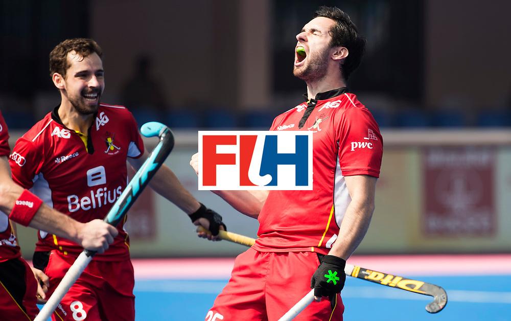 BHUBANESWAR - The Odisha Men's Hockey World League Final . Match ID 03. Argentina v Belgium. Loick Luypaert (Bel) scored and celebrates the goal. left Florent van Aubel (Bel) . WORLDSPORTPICS COPYRIGHT  KOEN SUYK