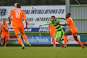 Forest Green Rovers Christian Doidge(9) tangles with Braintree Town's Manny Parry during the Vanarama National League match between Forest Green Rovers and Braintree Town at the New Lawn, Forest Green, United Kingdom on 21 January 2017. Photo by Shane Healey.