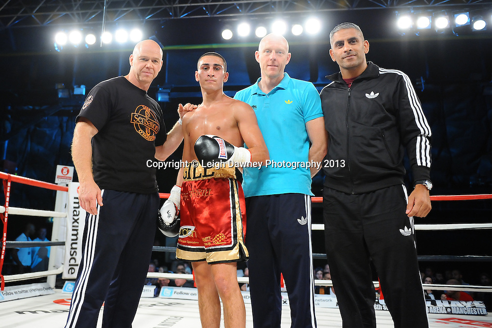 Jordan Gill (pictured with team) defeats Dan Carr in Super Featherweight contest on Saturday 14th September 2013 at the Magna Centre, Rotherham. Hennessy Sports. Self billing applies. © Credit: Leigh Dawney Photography.