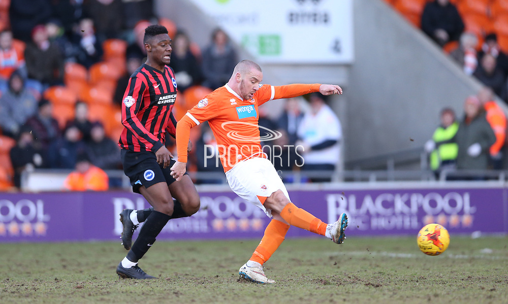Jamie O'Hara shoots during the Sky Bet Championship match between Blackpool and Brighton and Hove Albion at Bloomfield Road, Blackpool, England on 31 January 2015.