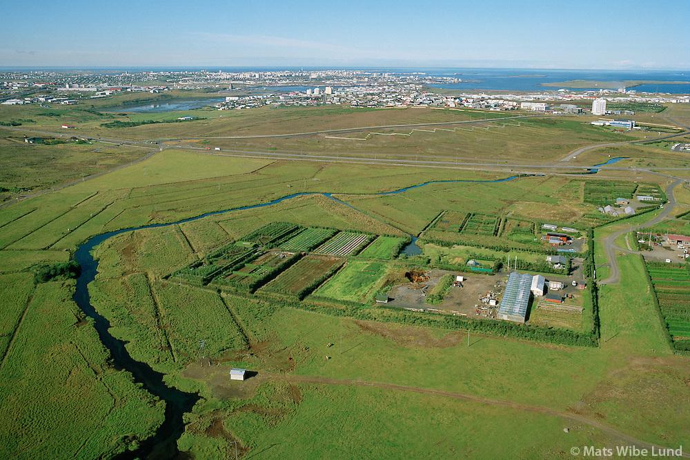 Lambhagi groðrastöð séð til vesturs. Úlfarsá  Korpu, Grafarvogur. Reykjavík  /  Lambhagi gardening station viewing west. river Ulfarsa Korpu viewing west towards Grafarvogur and Reykjavik.