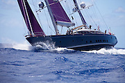 Baracuda racing in the St. Barth's Bucket Regatta.